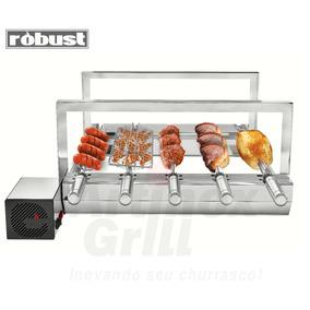 Churrasqueira Inox Gira Grill 5 Espetos Robust+grelha Girat