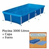 Piscina 3000 Litros + Capa + Forro - Mor
