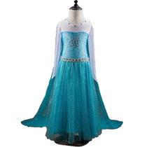 Vestido Super Luxo Elsa Frozen Com Cauda - Pronta Entrega