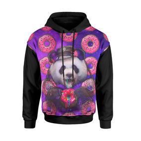 d5eb377bb Blusa Moletom 3d Full Panda Tumblr Donuts Galaxia
