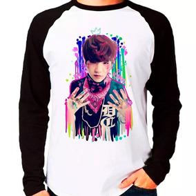 Camiseta Blusa Raglan Manga Comprida Kpop Bts Suga Splat