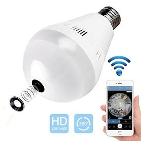 Câmera De Segurança Formato De Lampada Wifi 360 Área Grande