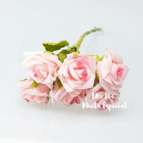10 Und Buquê Rosa Artificial Eva Arranjo Flor Lembrancinhas