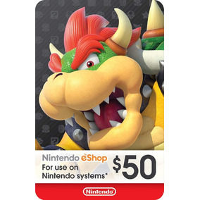 Cartão Nintendo 3ds Wii U Switch Eshop $60 (50$+10$) Usa
