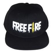 Gorra Negra Free Fire Plana Heroico Niños Moda Gamer Bordado