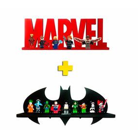 Kit Prateleira Marvel E Batman Exposição E Decoração Lego