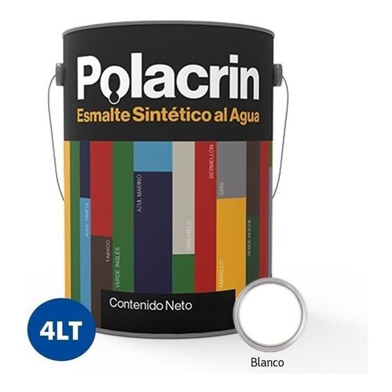 Esmalte Blanco Al Agua Interior Exterior X4 Litros Polacrin