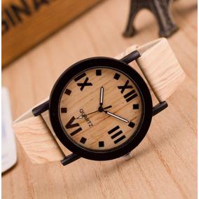 Relógio Artesanal De Madeira Com Pulseira De Couro