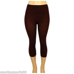 Capri Pantalones Elástico Spandex Marrón Ajustado Legging...