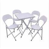 Conjunto De Mesas E Cadeiras Dobráveis De Ferro Metal Aço