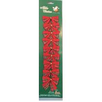 Laço Veludo Natal Vermelho 5cm Cx C/ 10 Cartelas De 9 Laços