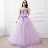 Vestido De Debutante Lilás Com Lantejoulas - Tamanho 36-38