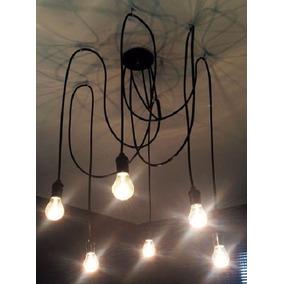 Luminária Lustre Pendente Cascata Hexa Bocal E-27 Preta 1,5m