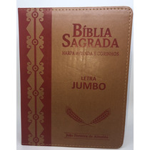 Bíblia Sagrada Letra Jumbo Com Harpa Marrom Frete Grátis
