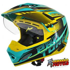 Capacete Cross Th1 Vision Advance Verde Com Amarelo