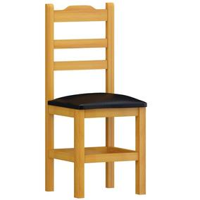 Cadeira Pérola Madeira Maciça Cerejeira Estofado Preto