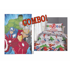 Combo Sábana + Frazada Simil Piel Avengers Piñata Oferta