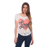 Franela De Encajes Corazones Love Saints Clothes