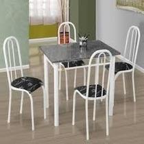 Conjunto De Mesa Com 4 Cadeiras E Tampo De Mármore
