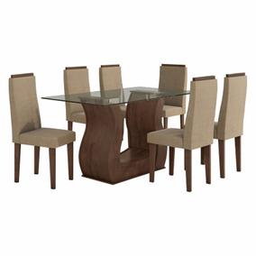 Sala De Jantar Lopas Mesa Tampo De Vidro E 6 Cadeiras Imbuia