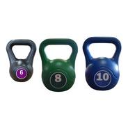 Kit Combo Pesas Rusas Kettlebell 6/8/10kg Fitness Mancuerna