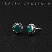 Brinco Quartzo Verde, Prata 925. India. 21910945