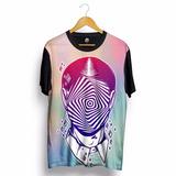 Camiseta Psicodélica Galaxy Et Alien Colorida Swag Lsd Preta