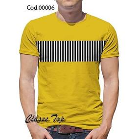 Camisetas Blusas Listrado No Meio Do Peito Kit C/ 10