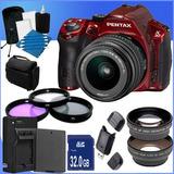 Cámara Digital Pentax K30 Con Kit De Lentes Mm Al (rojo) T