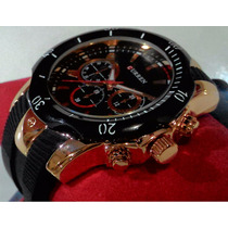 Relógio Pulso Curren Luxo Masculino Militar Preto Ouro Rose