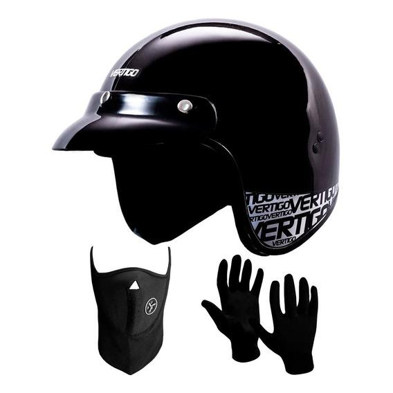 Casco Abierto Vertigo Basic + Mascara + Guantes - Sti Motos