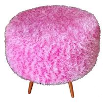 Pufe Puff Banqueta Com Crochê Rosa - Coleção Pelúcia