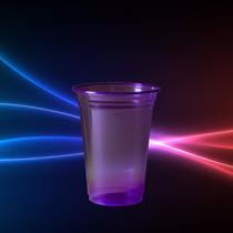 Copo Neon Roxo 300ml Brilha Na Luz Negra - Kit 25un