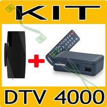Kit Conversor Tv Digital Aquario Dtv 4000 + Antena Interna