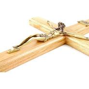 Crucifixo Para Parede Madeira Imagem Metal 40cm