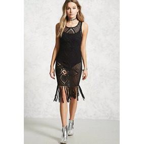 Forever 21 Vestido Salida De Playa Pareo Crochet Negro Tejid
