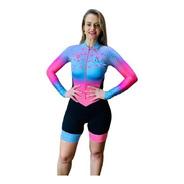 Macaquinho Ciclismo Feminino Flamingo Azul M L