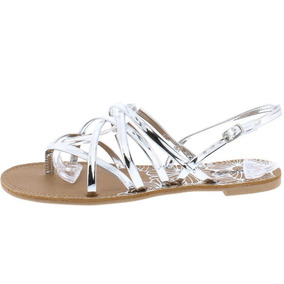 Sandalia Mujer Qupid Zapato Metálico Plata Negro Huarache