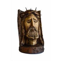 Rostro De Jesus Tallado A Mano En Madera Natural