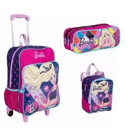 Kit Mochila Barbie Rodinha G 2017 Lançamento Rosa Sestini