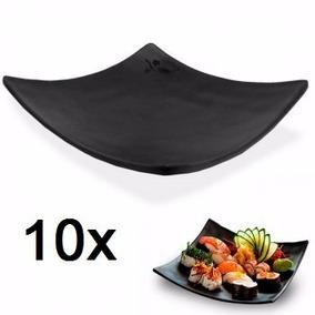 Kit 10 Prato Melamina Preto Quadrado Para Sushi 15x15