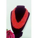 Collar En Mostacilla Rojo Y Dorado Mujer Accesorios De Moda