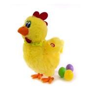 Peluche Gallina Pone Huevos Con Sonido Y Movimiento 30 Cm.