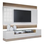 Mueble Tv Blanco Y Madera Oculta Cables  Luz Led Ref Livo4.1