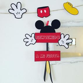 Cartel De Bienvenida Cumpleaños Mickey Mouse Cotillón