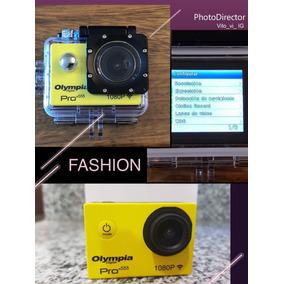 Cámara Olympia Pro X55 Amarilla Con Todos Los Accesorios