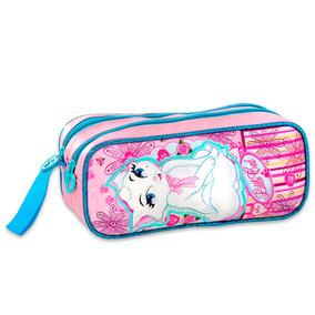 Estojo Lápis Escolar Duplo Menina Little Cat Pink Lc6239f