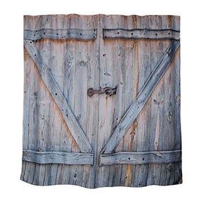 Rústico Country Barn Puerta De Madera Baño Cortina De Ducha