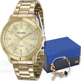 Kit Relógio Mondaine Feminino Com Pulseira 94848lpmkde1k1