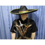Mexicano Cinturão Com 192 Balas Chapeu Armas Chicote Espada